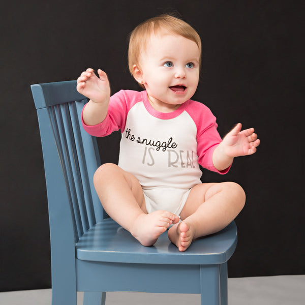 The Snuggle is Real 3/4 Sleeve Baby Onesie Onesie Sidewalk Talk - GigglesGear.com