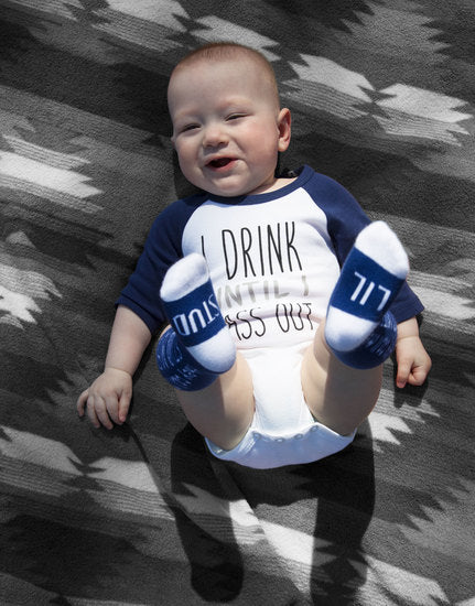 I Drink Until I Pass Out 3/4 Sleeve Baby Onesie Onesie Sidewalk Talk - GigglesGear.com
