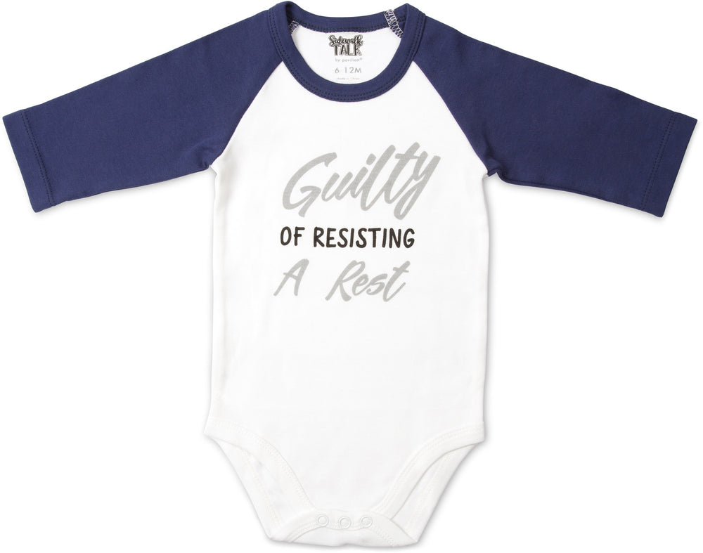 Guilty of Resisting a Rest 3/4 Sleeve Baby Onesie