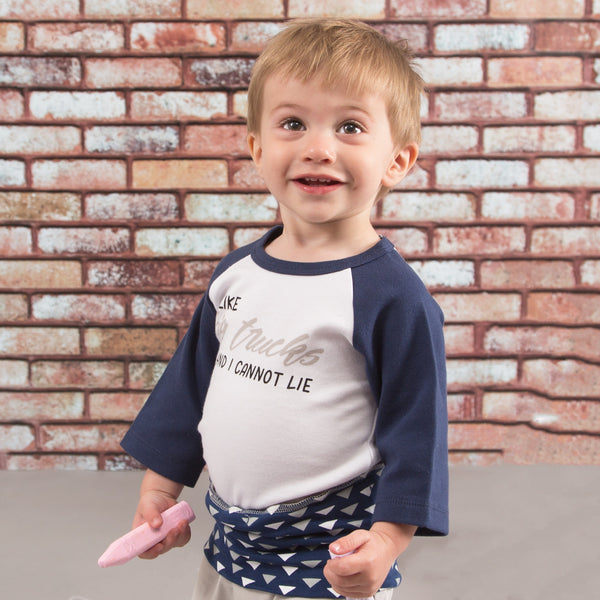 I Like Big Trucks and Cannot Lie 3/4 Sleeve Onesie 6-12 M Onesie Sidewalk Talk - GigglesGear.com