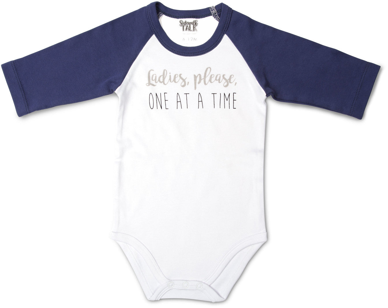 One At A Time 3/4 Sleeve Onesie 6-12 M Baby Onesie Sidewalk Talk - GigglesGear.com