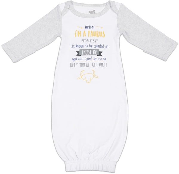 Taurus Baby Sleeping Gown w/Mitten Cuffs Sleeping Gown Sidewalk Talk - GigglesGear.com