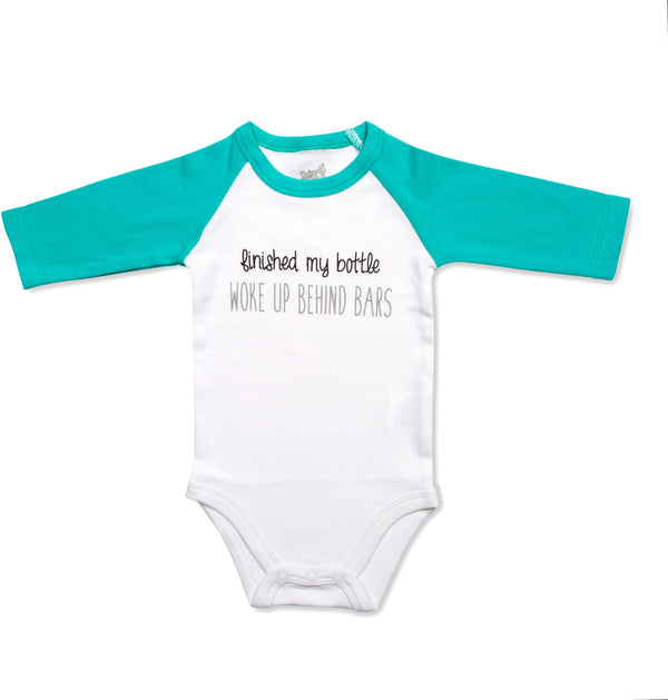 Finished my bottle woke up behind bars Baby 3/4 Sleeve Onesie Baby Onesie Sidewalk Talk - GigglesGear.com