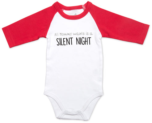 Silent Night 3/4 Length Red Sleeve Onesie