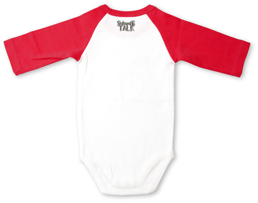 Red & White Silent Night Christmas 3/4 Sleeve Onesie Baby Onesie Sidewalk Talk - GigglesGear.com
