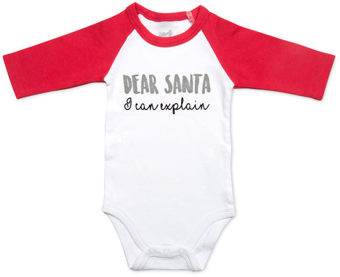 Dear Santa I can explain 3/4 Length Red Sleeve Onesie