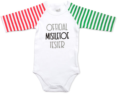 Official mistletoe tester 3/4 Sleeve Onesie