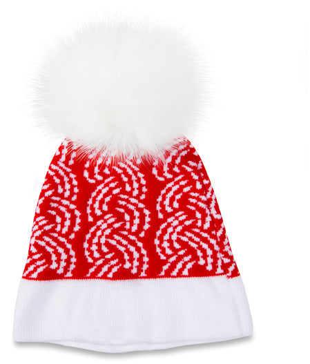 Let it Snow Red Knit Pom Pom Hat Hat Sidewalk Talk - GigglesGear.com