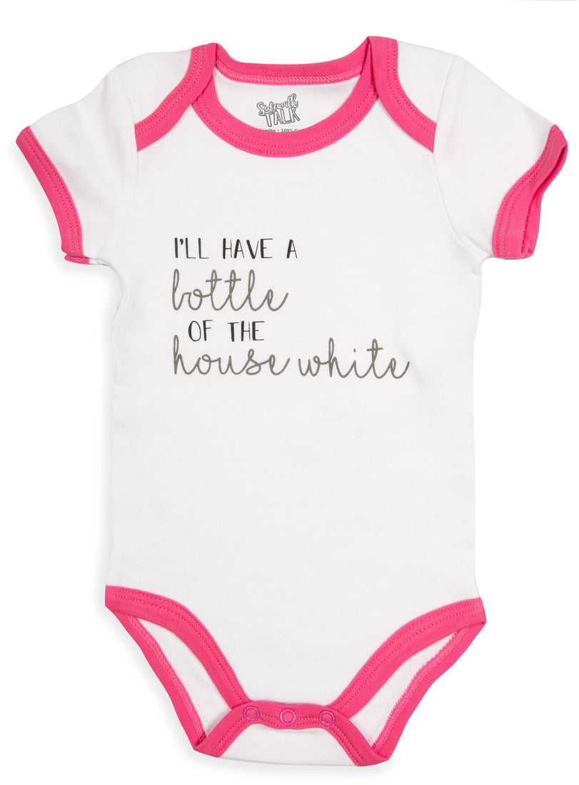 I'll have a bottle of the house white Pink Trimmed Onesie