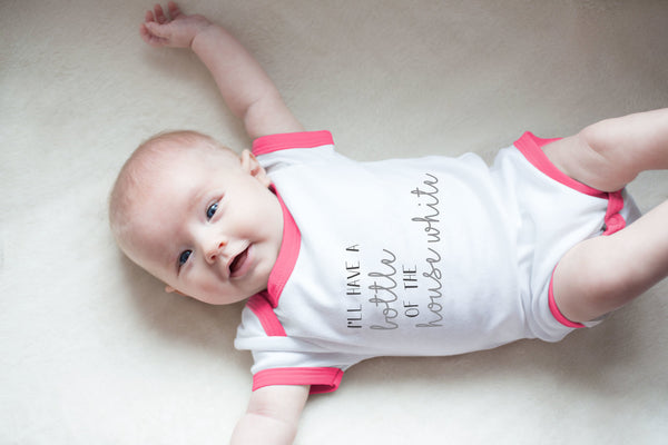 I'll have a bottle of the house white Pink Trimmed Onesie Baby Onesie Sidewalk Talk - GigglesGear.com