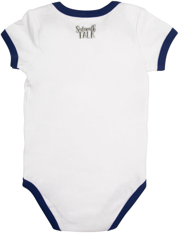 I'm always getting picked up by women Navy Trimmed Onesie Baby Onesie Sidewalk Talk - GigglesGear.com