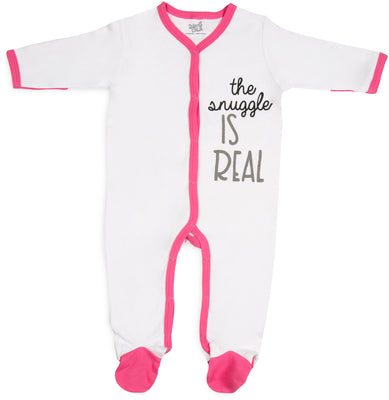 The snuggle is real Pink Trimmed Sleeper w/Mittens, Booties