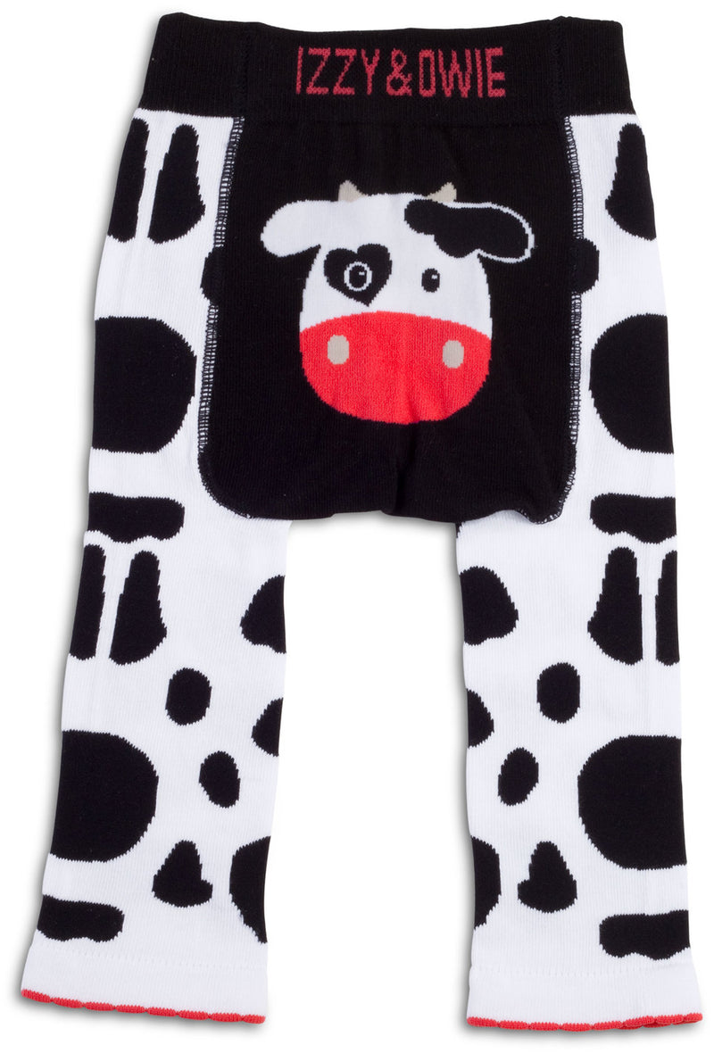 Black and White Cow Leggings 12-24 Months Baby Leggings Izzy & Owie - GigglesGear.com