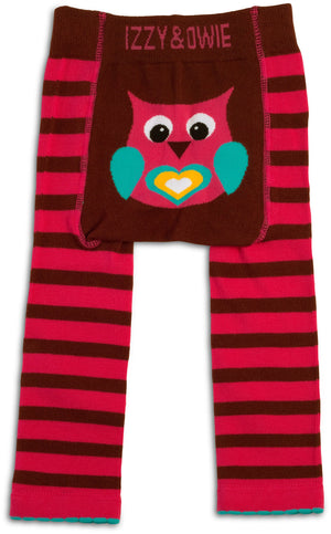 Pink and Brown Owl Leggings Baby Leggings Izzy & Owie - GigglesGear.com