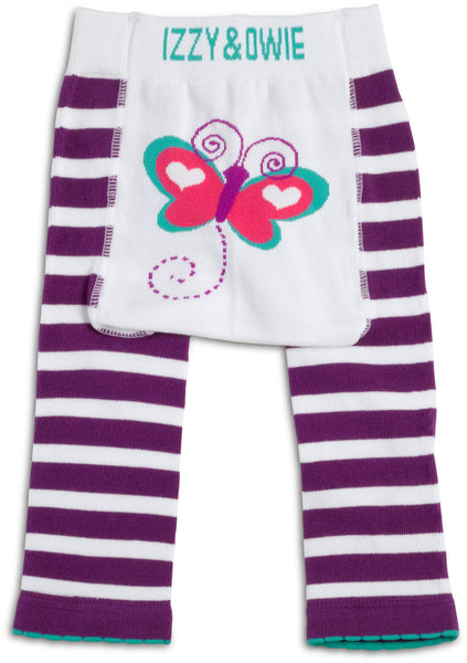 Purple and White Butterfly Leggings Baby Leggings Izzy & Owie - GigglesGear.com