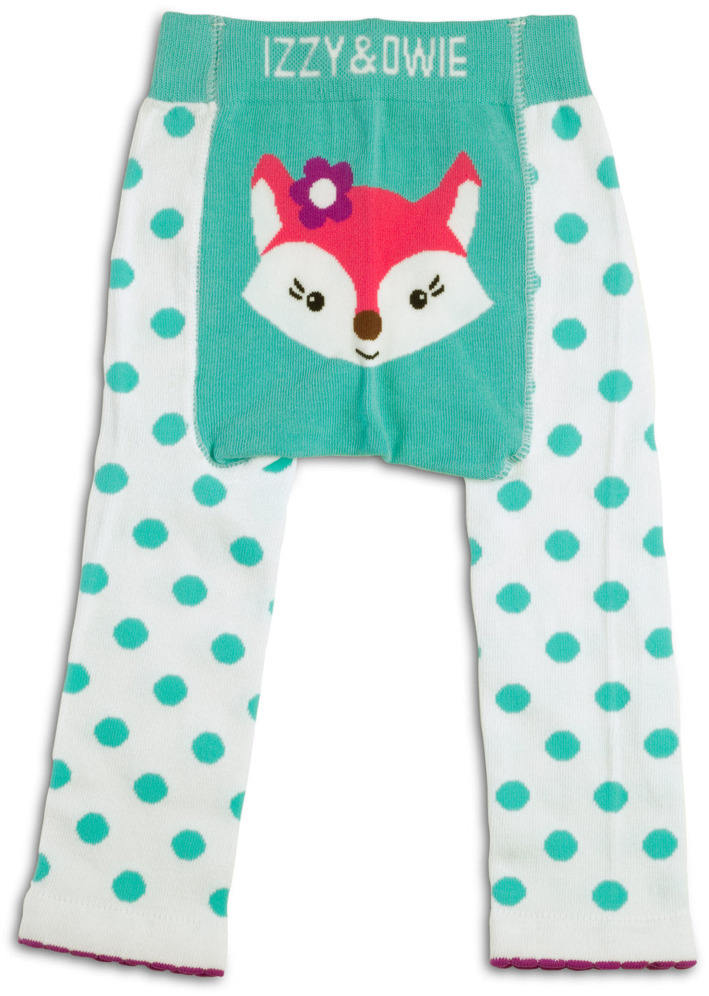 Aqua and White Fox Leggings Baby Leggings Izzy & Owie - GigglesGear.com