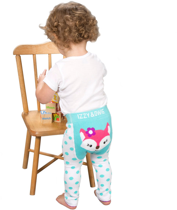 Aqua and White Fox Baby Baby Leggings Leggings Izzy & Owie - GigglesGear.com