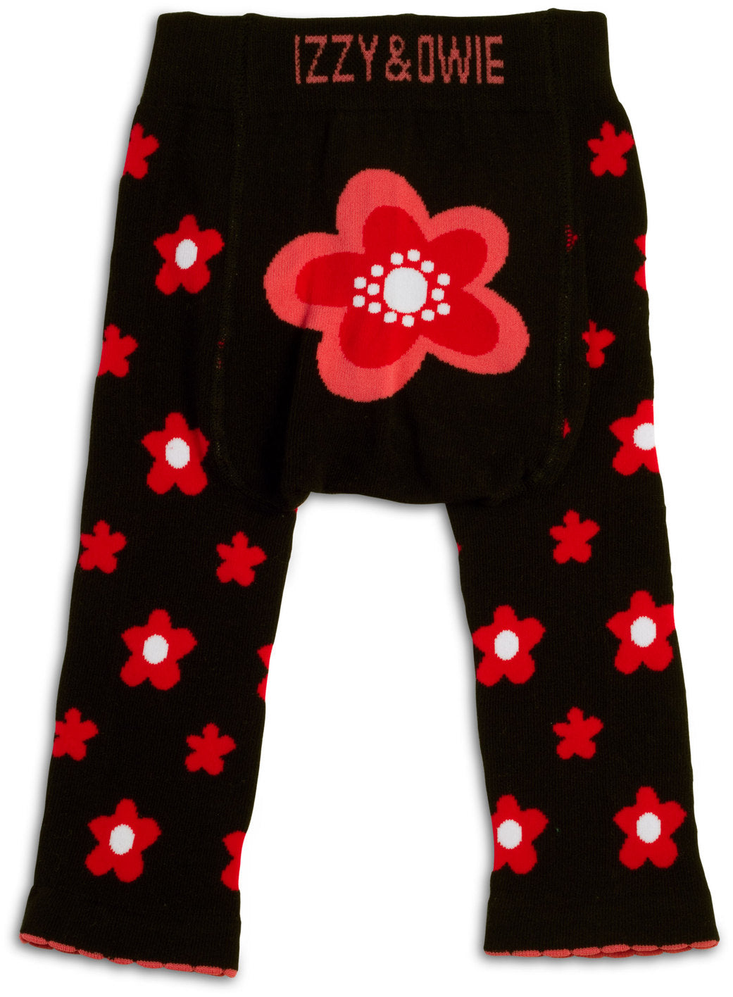 Pink and Black Flower Leggings 6-12 M Baby Leggings Izzy & Owie - GigglesGear.com