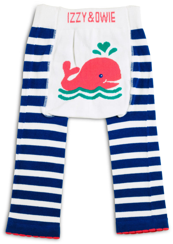 Blue and Pink Whale Baby Leggings Leggings Izzy & Owie - GigglesGear.com