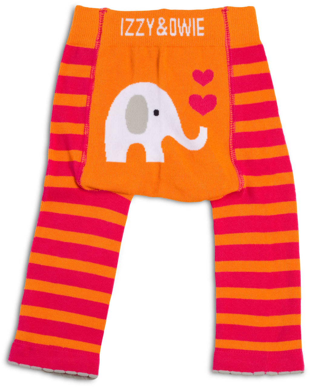 Pink and Orange Elephant Leggings Baby Leggings Izzy & Owie - GigglesGear.com
