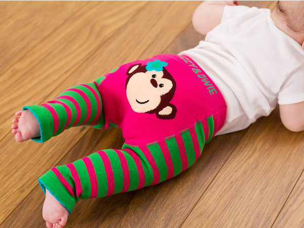 Pink and Green Monkey Baby Leggings Leggings Izzy & Owie - GigglesGear.com
