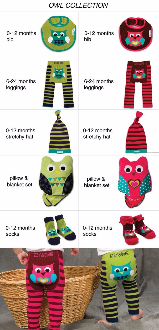 Green and Navy Owl Leggings Baby Leggings Izzy & Owie - GigglesGear.com