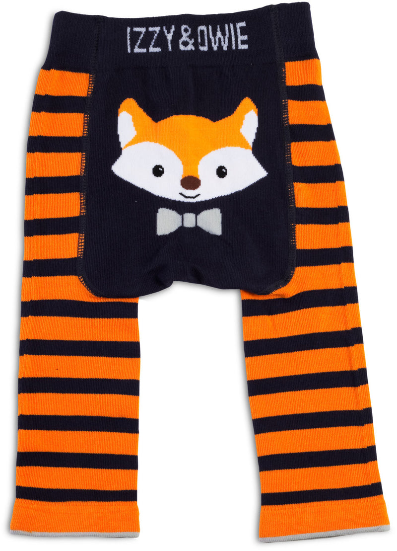 Orange and Navy Fox Leggings Baby Leggings Izzy & Owie - GigglesGear.com