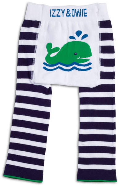 Navy and White Whale Leggings Baby Leggings Izzy & Owie - GigglesGear.com