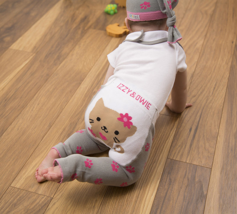 Pink and Gray Kitty Leggings Baby Leggings Izzy & Owie - GigglesGear.com
