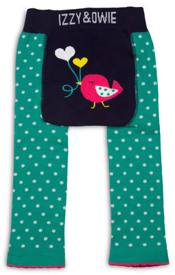 Aqua and Navy Birdie Baby Leggings