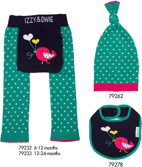 Aqua and Navy Birdie Leggings 6-12 M Leggings Izzy & Owie - GigglesGear.com