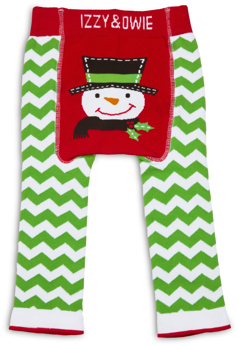 Red and Green Snowman Leggings Baby Leggings Izzy & Owie - GigglesGear.com