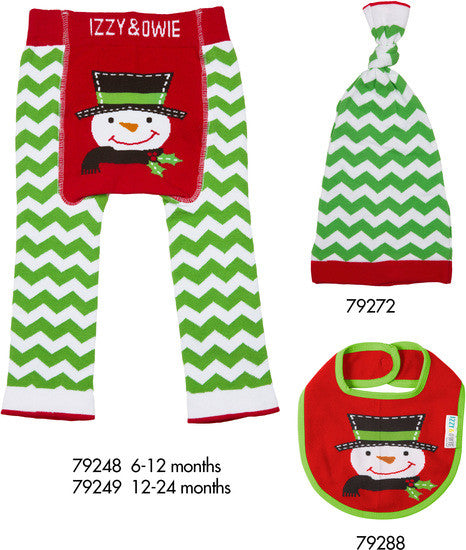 Red and Green Christmas Snowman Baby Leggings 6-12 M Baby Leggings Izzy & Owie - GigglesGear.com