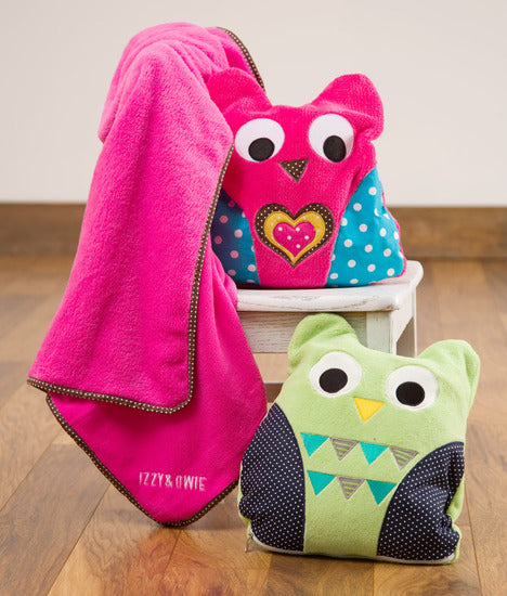 Green and Navy Owl Baby Blanket Blanket Izzy & Owie - GigglesGear.com