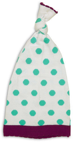 Aqua and White Polka Dot Hat Hat Izzy & Owie - GigglesGear.com