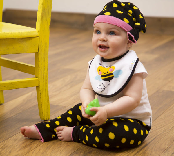 Yellow and Black Dot Knotted Baby Hat Baby Hat Izzy & Owie - GigglesGear.com