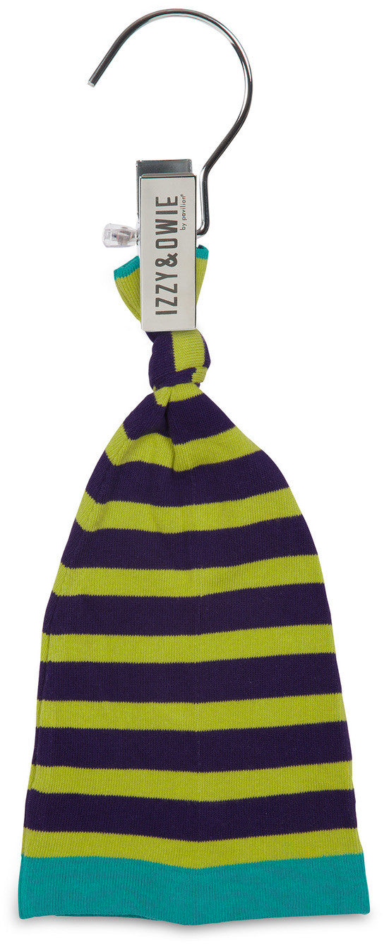 Light Green and Navy Stripe Knotted Baby Hat Baby Hat Izzy & Owie - GigglesGear.com