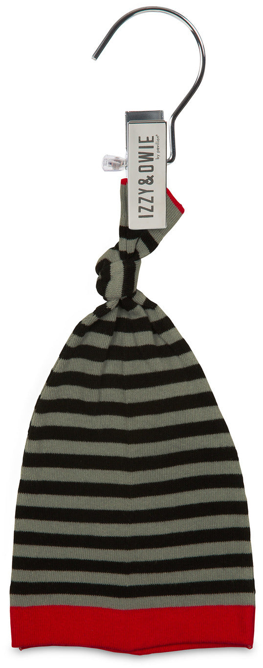 Gray and Black Stripe Stripe Knotted Baby Hat Baby Hat Izzy & Owie - GigglesGear.com