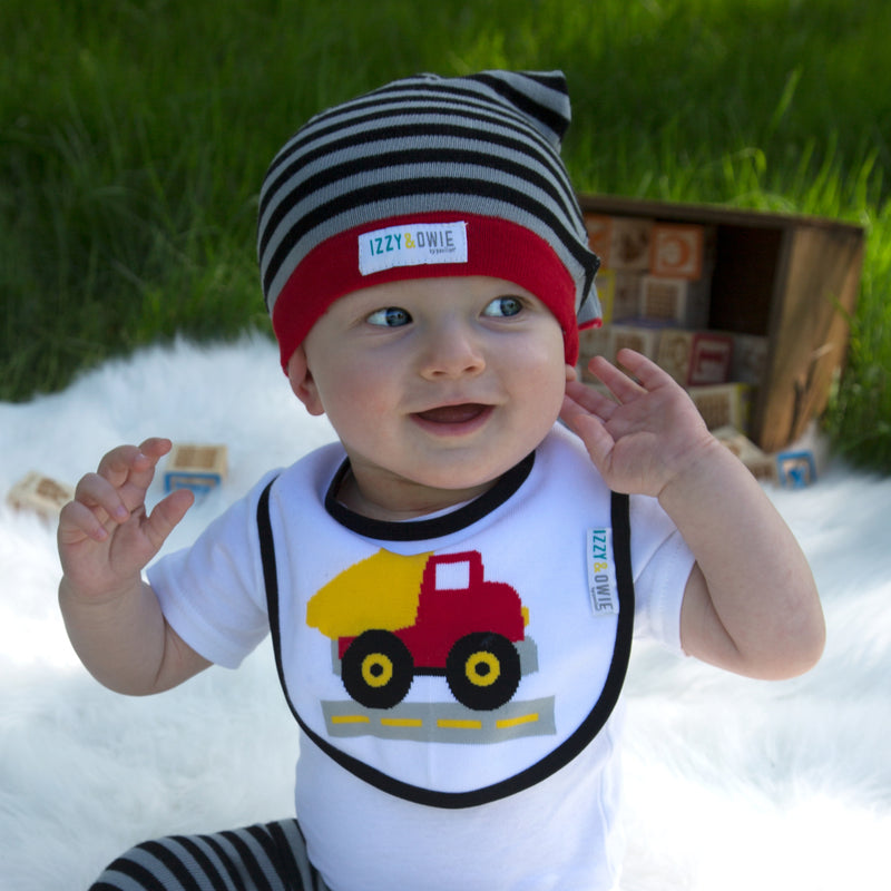 Gray and Black Stripe Stripe Hat Baby Hat Izzy & Owie - GigglesGear.com