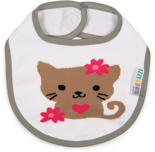 Pink and Gray Kitty Bib Bib Izzy & Owie - GigglesGear.com