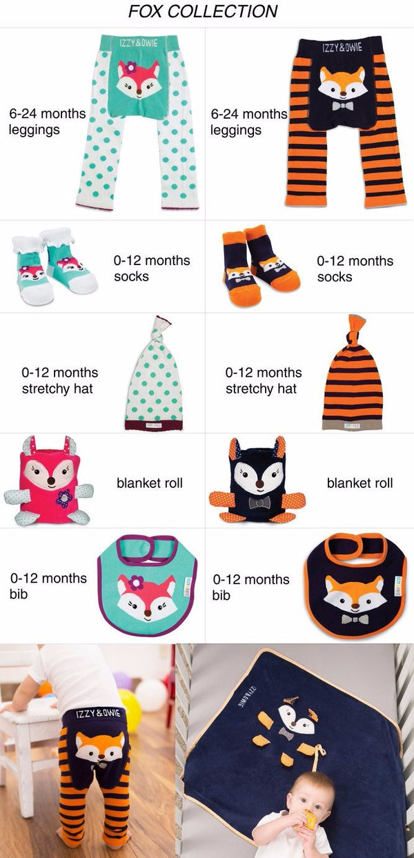 Orange and Navy Fox Baby Bib Baby Bib Izzy & Owie - GigglesGear.com