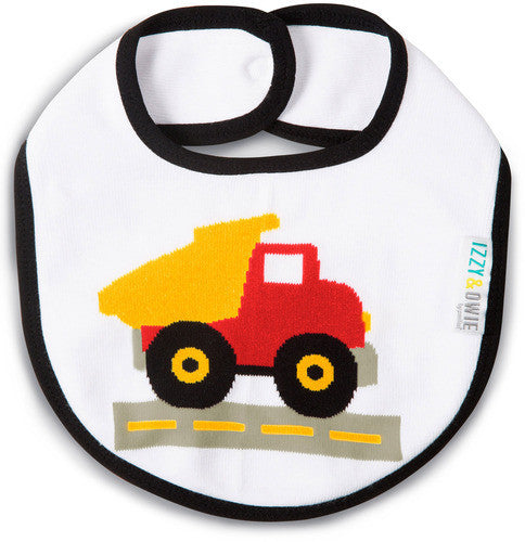Red and Yellow Truck Bib Baby Bib Izzy & Owie - GigglesGear.com