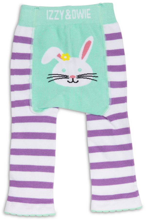 Blue and Lavender Bunny Baby Leggings Baby Leggings Izzy & Owie - GigglesGear.com