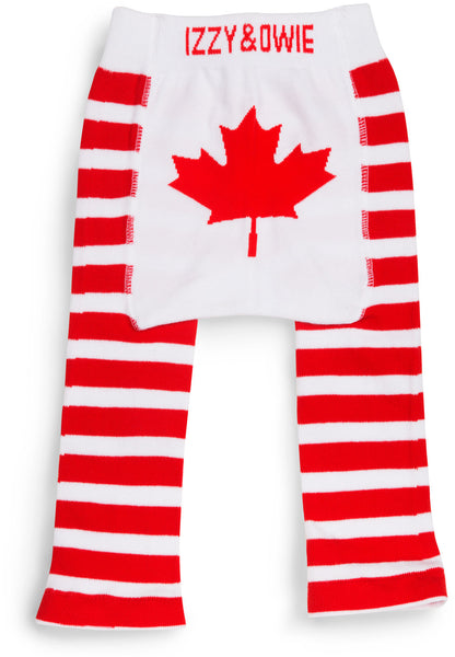 Red Maple Leaf Leggings Baby Leggings Izzy & Owie - GigglesGear.com