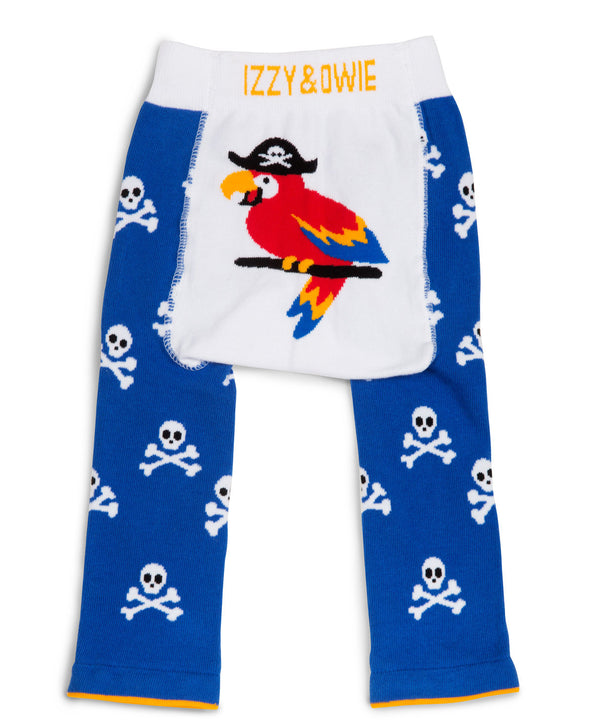 Blue Pirate Parrot Baby Leggings Baby Leggings Izzy & Owie - GigglesGear.com