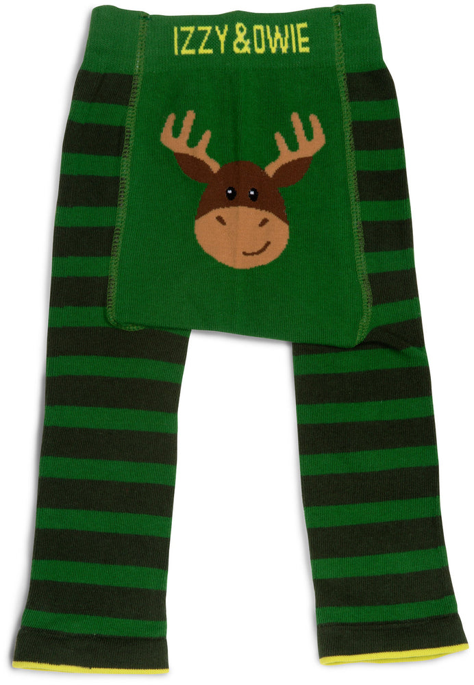 Forest Green Moose Baby Leggings 6-12 M