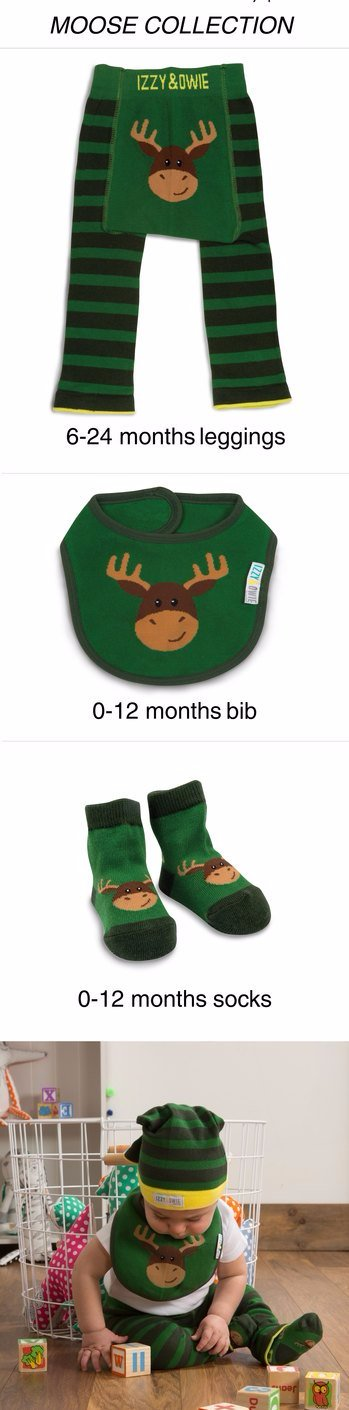 Forest Green Moose Baby Leggings Leggings Izzy & Owie - GigglesGear.com