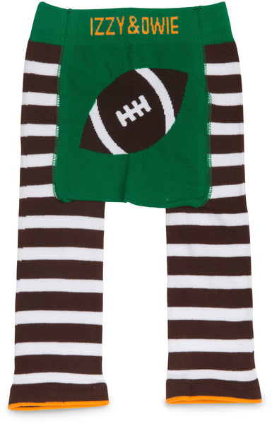 Green and Brown Football Leggings Baby Leggings Izzy & Owie - GigglesGear.com