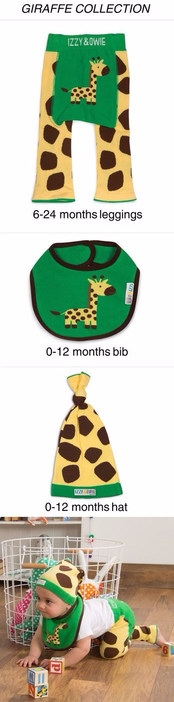 Green and Yellow Giraffe Knotted Baby Hat Baby Hat Izzy & Owie - GigglesGear.com