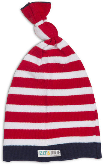 Red and Navy Stripe Knotted Baby Hat Baby Hat Izzy & Owie - GigglesGear.com